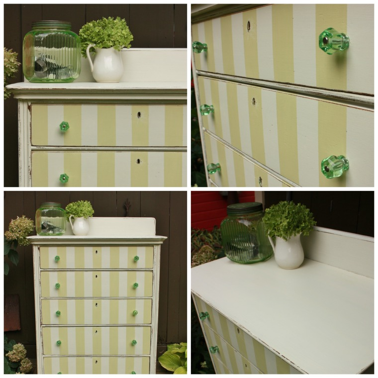 pear green striped dresser.