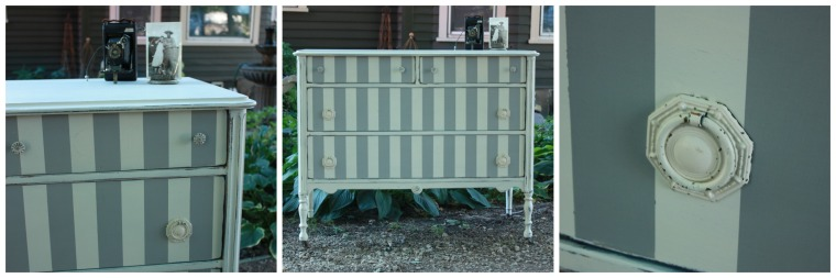 grey striped dresser.