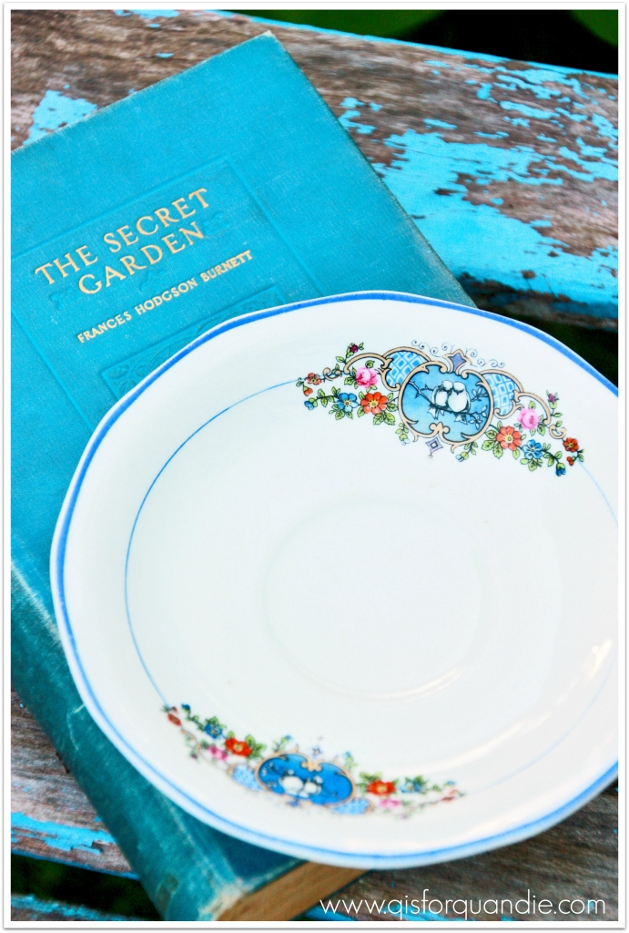 bluebird china with book