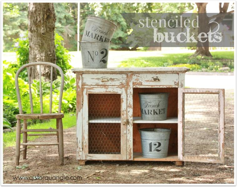 stenciled buckets