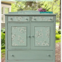 wallpapered linen press dresser.