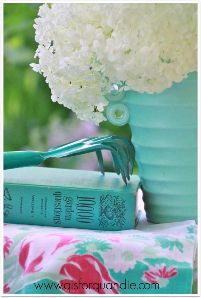 annabelle hydrangea in turquoise vase