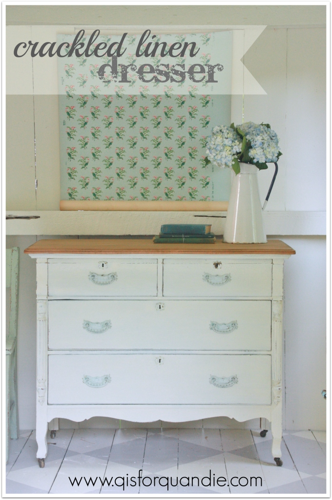 crackled linen dresser