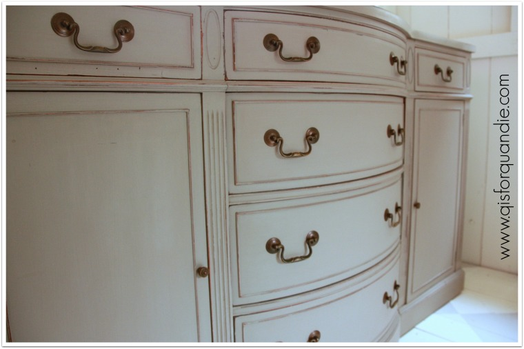french linen sideboard closeup