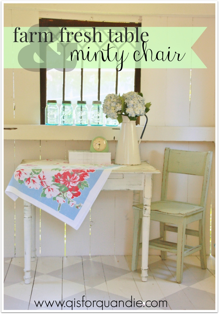 minty chair and table