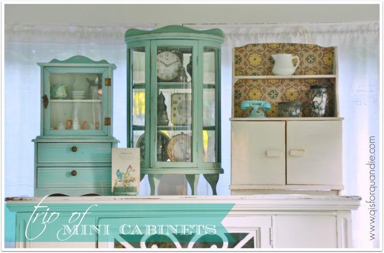 trio of mini cabinets
