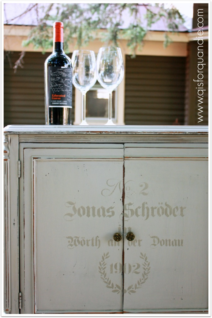 upcycled wine cabinet close up