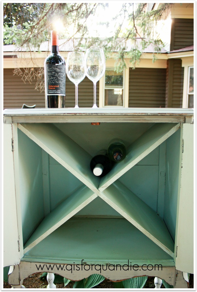 upcycled wine cabinet interior