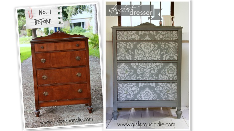 Stenciled dresser before and after