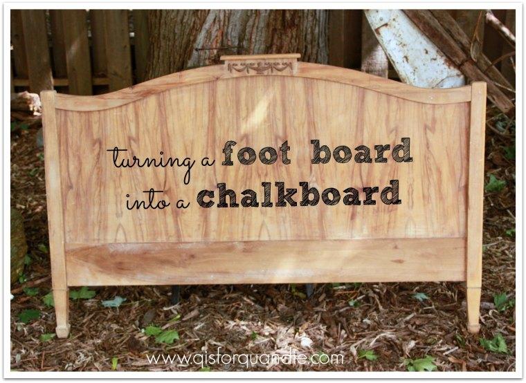 foot board chalkboard before