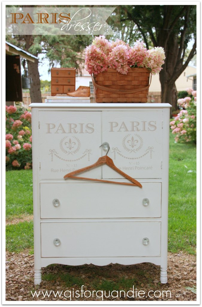 Dresser with Paris stencil