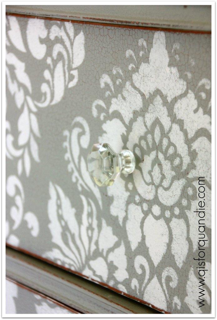 stenciled dresser crackle