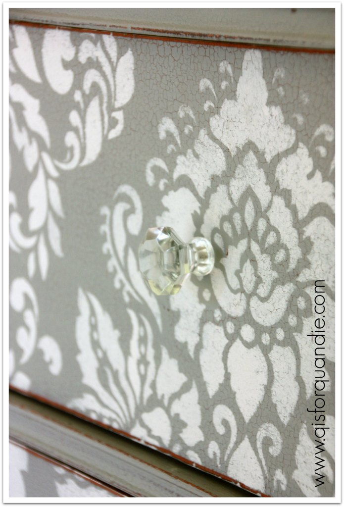 stenciled dresser crackle