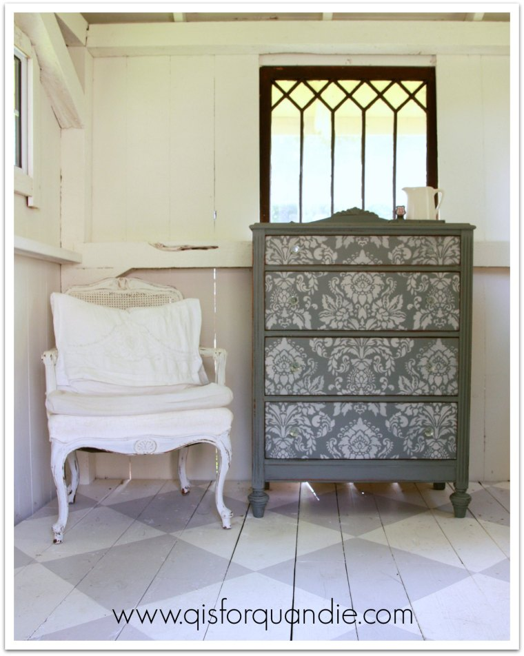 stenciled dresser with chair