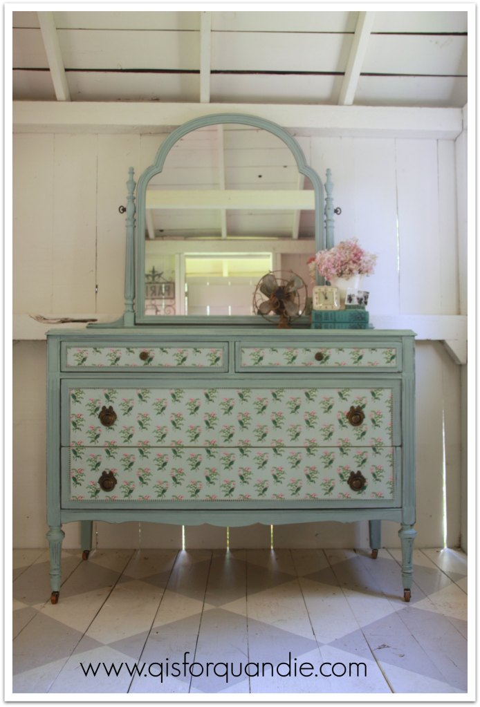 vintage wallpaper dresser full