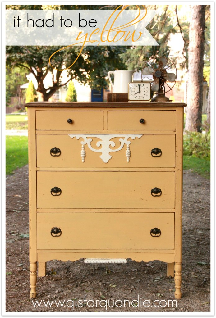Dresser painted in MMS milk paint Mustard Seed Yellow.