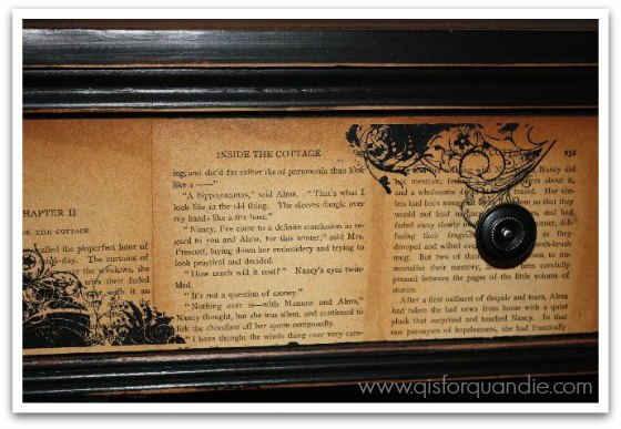 Decoupaged book pages on drawer
