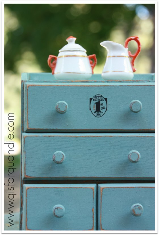 Tiny dresser painted in MMS milk paint