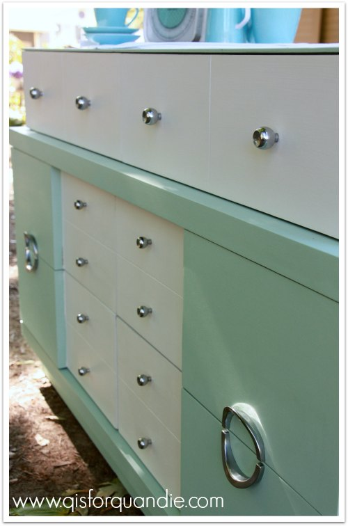 mcm dresser painted in Sherwin Williams aloe