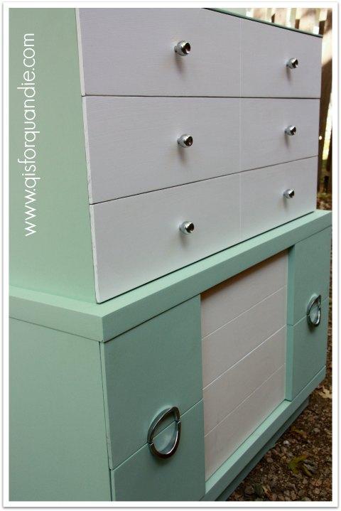 mid century modern dresser painted in SW Aloe
