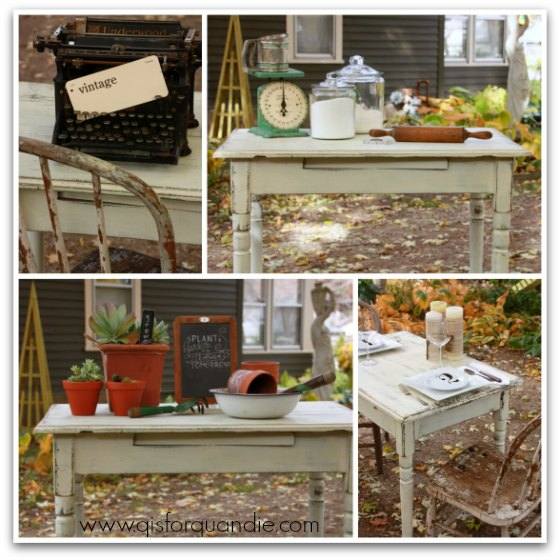 white table collage