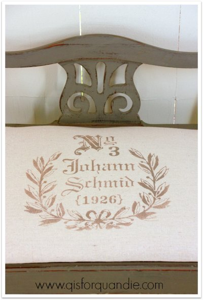 stenciled bench close up