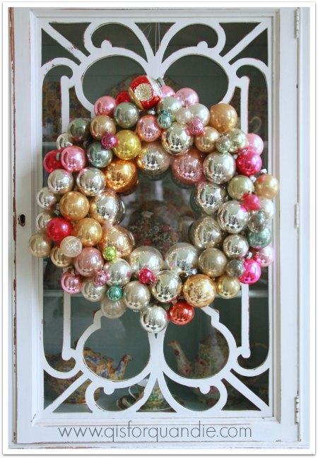 vintage ornament wreath close up