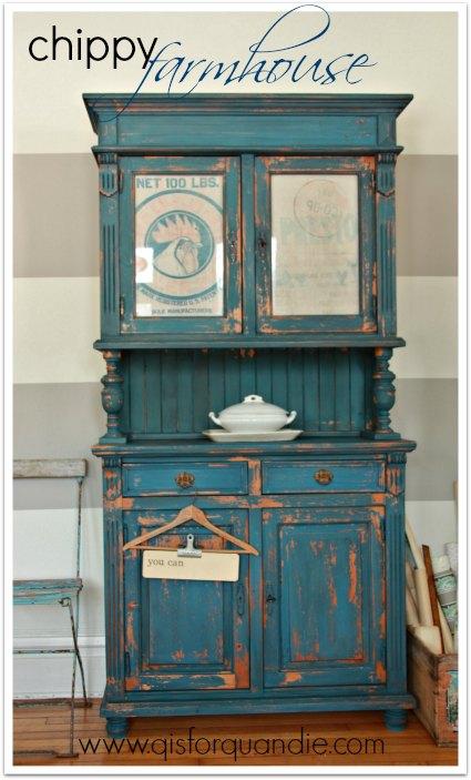 chippy farmhouse cabinet