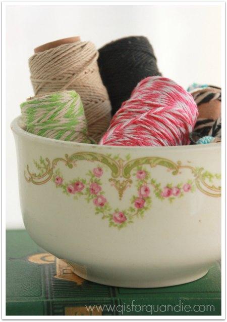 Butchers string in vintage floral bowl.