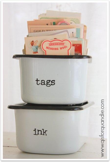 Tags in vintage enamel boxes