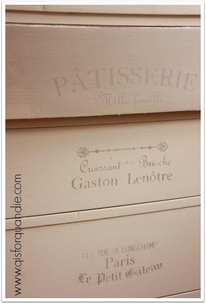 dresser stencil closeup
