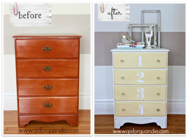 yellow and white dresser