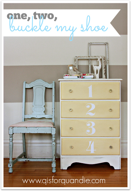 pale yellow and white dresser