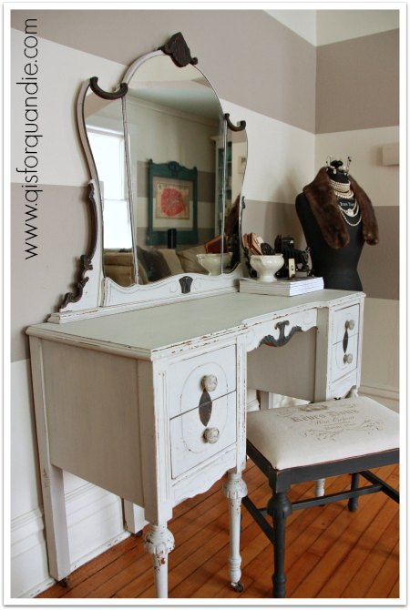vintage vanity painted with MMS milk paint in Grain Sack