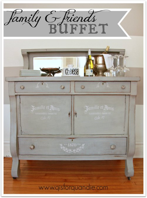 tiger oak buffet painted in milk paint