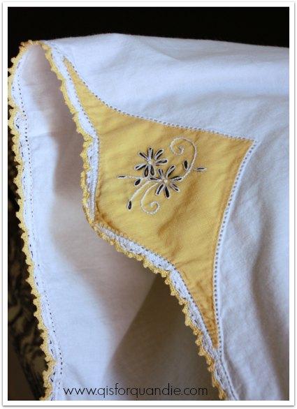 guest room vintage pillowcase