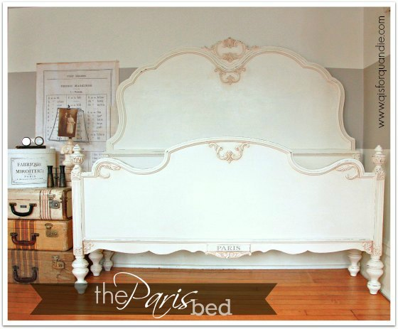 Bed painted white.