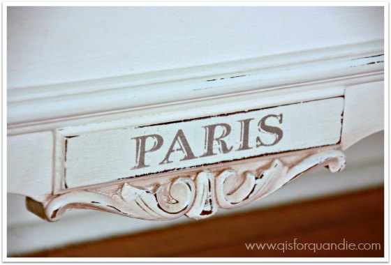 paris bed stencil close up
