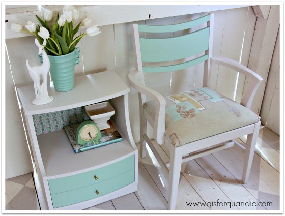 MCM nightstand and chair