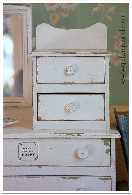 vintage painted miniature dresser