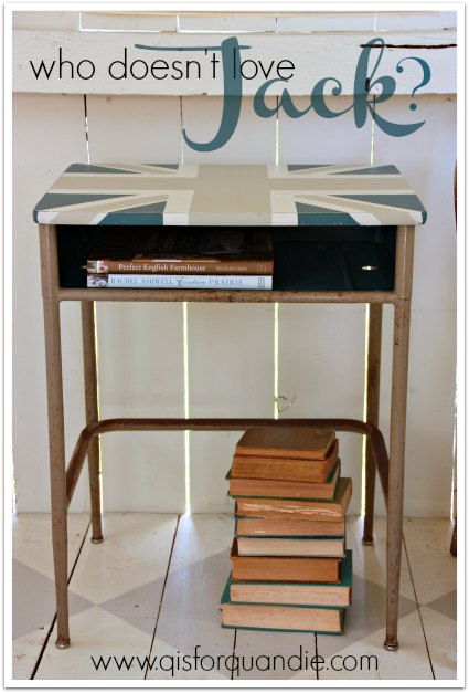 vintage school desk with union jack design