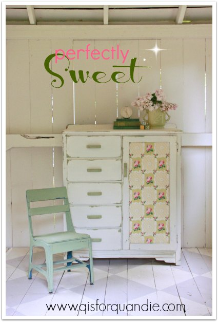 perfectly sweet armoire painted in MMS milk paint.