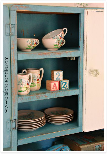 cupboard with china