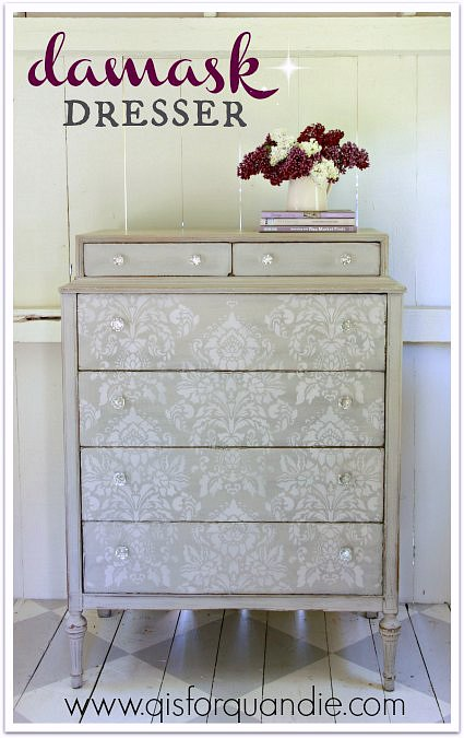 Stenciled dresser painted in MMS milk paint in Schloss