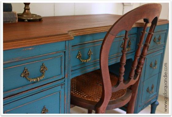 Desk painted in MMS Flow Blue.