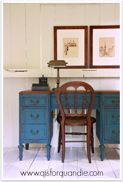 Desk painted in MMS Flow Blue milk paint