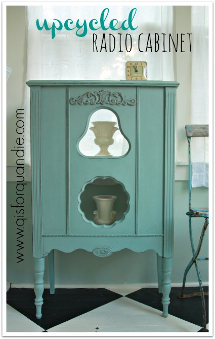 Radio cabinet painted in Annie Sloan Duck Egg
