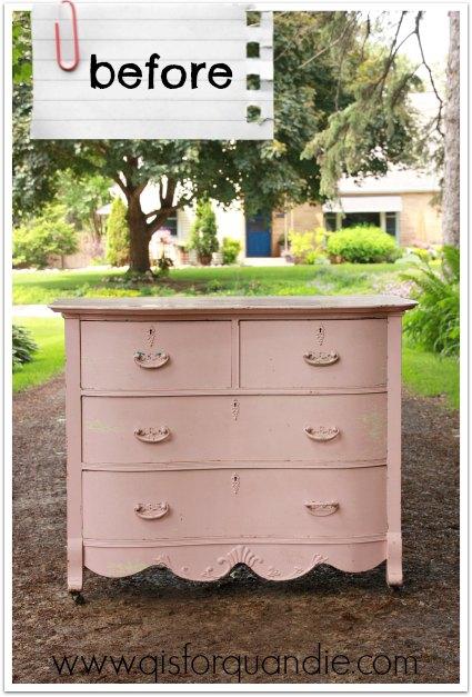 pink dresser before