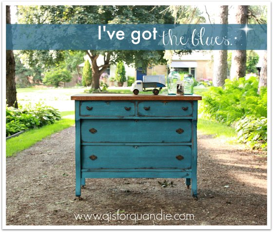 Dresser painted in custom mix of MMS milk paint blues.