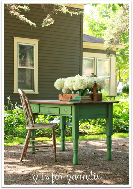 Green farmhouse style desk
